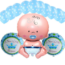 Wholesale Baby Shower Girl Balloons - 14pcs set lovely angel baby shower princess foil air balloons polka dot latex balls boy girl birthday party decorations supplies3