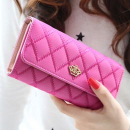 Wholesale Crown Wallet For Women - Wholesale- New 2015 casual high-capacity women wallets Lingge metal crown lady long day clutch wallet high quality purse for women