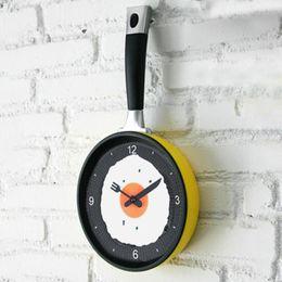 Wholesale wholesale kids wall clocks - Wholesale- New Kids Wall CLock Creative Omelette Fry Pan Kitchen Fried Egg MINI Design Children Wall Clocks Kitchen Clock 3 Colors