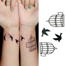 Wholesale Cheap Arm Tattoos - New Arrival Fashion Designer Cheap Brand Bird Cage Design High Quality Waterproof Tattoo Stickers Free Shipping