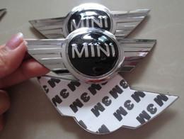 Wholesale Mini Cooper Badges - 10pcs Metal chrome MINI BONNET BADGE Front boot car Emblem For Cooper works & One alloy black wholeslae