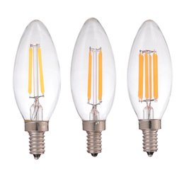 Wholesale Dimmable Led Candle Lamp - 2W 4W 6W,LED Filament Candle Bulb,Retro Decorative lamp,E12 E14 Base,110V 220VAC,Warm Cool White,Chandelier,Dimmable