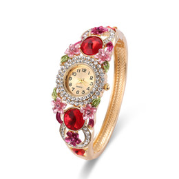 Wholesale Cases Swarovski Diamond - Vintage Diamond Watches Chunky Swarovski Siam Stone Epoxy Floral Design Pretty Luxury Watches 26mm Watch Case Ladies Watches 61166051