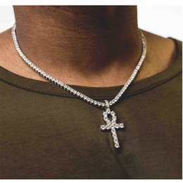 Wholesale Gold Chains Bling - Mens Bling Iced Out Egyptian Ankh Key Pendant Necklace Gold Plated Hip Hop Rhinestones Crystal Cuban Link Chain Men Jewelry Necklace