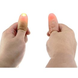 Wholesale Thumb Light Magic Trick Wholesale - 1 Pair Creative Magic Thumb Tip LED Light Magic Trick Finger Lights for Dance Party Props - Blue Green Red Light