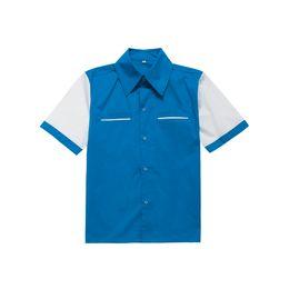 Wholesale Rockabilly Shirt L - Wholesale-mens casual shirts plus size short sleeves blue white cotton vintage bowling shirt button up woven shirts rockabilly shirt