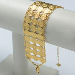 Canada Gros-19CM / 2016 Arab Coin Bracelet Femmes / Hommes 18K Plaqué Or Large Bracelet Bracelet, Gros islam moyen-orient bijoux afrique / éthiopien supplier east africa Offre