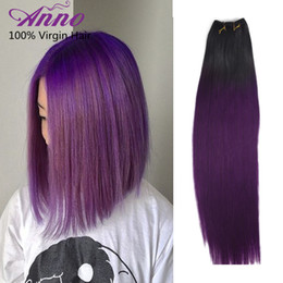 Wholesale Cheap Quality Hair Weave - Brazilian Straight 1b Purple Ombre Hair Bundle Deals Cheap Weave Ombre Grade 8A Hair Extensions 3 Pcs Top Quality Anno Hair Products