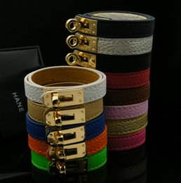 Wholesale H Bracelets Bangles - Buckle Leather Bracelet Wholesale H Locomotive Bracelets KELLY Rotary Bangle Valentine Day Gift Charms Braided Wrist Jewelry-J900