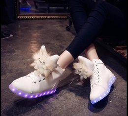 Wholesale Usb Warm Shoes - NEW 7Color LED luminous shoes USB charging shoe Plush dolls fluffy warm Martin boots colorful lights high help Flat with shoes DHL 50pair