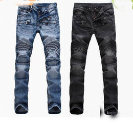 Wholesale Cool Slimming - size 28-42 Men's Distressed Ripped Jeans Famous Fashion Cool Designer Slim Motorcycle Biker Causal Denim Pants Runway Jeans