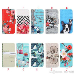 Wholesale Chinese Notebooks - For Apple Ipod Touch 5 6 Huawei P8 P9 Lite LG G5 Flower Wallet Leather Case Stand TPU Card Money Pouch Rock Music Car Notebook Bicycle Skin