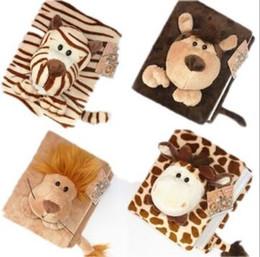 Wholesale Green Monkey Wholesale - 3pcs lot New 6-inch Cartoon animal photo album Plush Albums Plush Toys Tiger lion deer monkey style Christmas gift