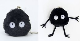 """Wholesale Wholesale Purse Dust Bags - Top New 2 Styles 2.8""""*2.8"""" 7CM*7CM Black Dust Coin Bag My Neighbor TOTORO Plush Bags Purses Wallets Soft Gifts For Children"""