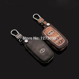 Wholesale Toyota Rav4 Keychain - 2014 2015 Toyota Rav4 Car Keychain Genuine Leather Carve Car Key Case Fob Cover Remote Car Key Chain Ring Auto Accessories