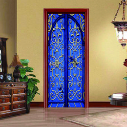 Wholesale Adhesive Decorative Wallpaper - DSU 3D Blue Retro Door Creative Door Sticker Home Bedroom Sliding Door Decorative Wallpaper PVC Waterproof Wall Stickers
