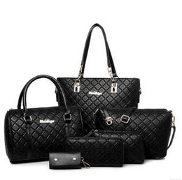 Wholesale Wild Totes - 2016 new 6pcs lot Ms. girl embossed handbags shoulder bags messenger bags purse wallets key cases makeup bags Leisure wild bag Black Blue