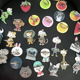 Wholesale Design Sticker Cell Phone - Cell phone bracket Metal Mobile Rings Holders Fruit Or Animal New Design Anti-drop Strong Stickers Lazy Stent For note 8 Iphone