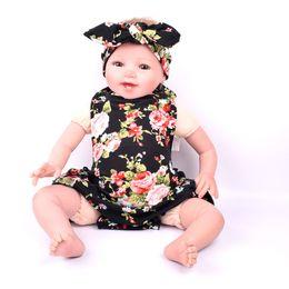 Wholesale Dress Girls New D - 2016 Summer New Baby headband Girls Dresses Romper plus headband Cross combination Set flower Pattern Kids Girl Dress skirt have 3 style