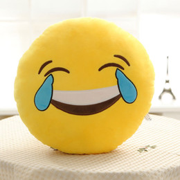 Wholesale Round Pillow Cases - Cute Soft Emoji Pillowcase Skins Round Cushion Home Textile Pillow case Emotions Smiley Cotton Sofa Plush For Adults Childs 77