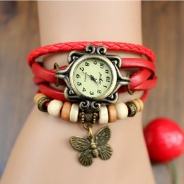 Wholesale Steel Butterfly Bracelets - 2016 New Arrivals High Quality Women Genuine Leather Vine Watch Bracelet Wristwatches Butterfly 7 Colors Wholesales