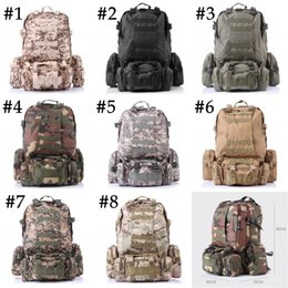 Wholesale Tennis Backpack Wholesale - Unisex Outdoor 3D Military Tactical Backpack Rucksack Sport Travel Hiking Trekking Bag 8 Color Free DHL E599L