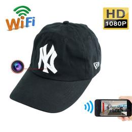 Wholesale Spy Hat Surveillance Camera - 32GB Wifi Spy Hat Camera HD 1080P Baseball Cap Pinhole Cam Mini P2P Camera Portable IP Video Recorder Wireless Security Surveillance DVR DV