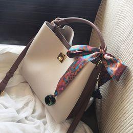 Wholesale Hand Bags Fashion Shoulder - 2017 New Women Bags Fashion Bucket Bag Designer Handbag Casual Scarf hand Shoulder Messenger Bag Wholesale retail Free shipping