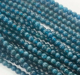 Wholesale Loose Tourmaline - to win warm praise from customers new 6 8 10 12 14mm blue ink Apatite Round Gemstones Loose Beads 15 inch