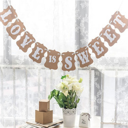 Wholesale Love Sweet Banner - New LOVE IS SWEET Vintage Wedding Bunting Banner Photo Booth Props Signs Garland Bridal Shower Wedding Decoration Free Shipping