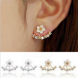 Wholesale Crystal Earrings Jackets - Korean Jewelry 2016 New Zircon Crystal Front Back Double Sided Stud Earrings For Women Fashion Ear Jacket Piercing Earing Koyle