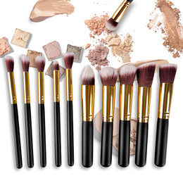 Wholesale high quality makeup brushes set - 10pcs Makeup Brush Kit Black Gold Makeup Brush with PU Bag Makeup Tool High Quality Face Powder Brush Foundation Brush Eyeshadow 2805069