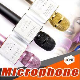 Wholesale Horn Speaker For Iphone - Q9 Bluetooth wireless Microphone Portable Handheld Wireless KTV Karaoke Player Dual Horns Loudspeaker Speaker For iPhone X 8 Plus Samsung