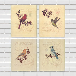 Wholesale Tulips Flower Cartoon - Unframed 4 Pieces art picture free shipping Canvas Prints oil painting Hummingbird branch bird potted flower tulips sea Coconut leaves