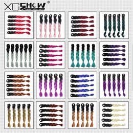 Wholesale Wholesale Hair Extensions Boxes - Kanekalon Jumbo synthetic braiding hair Ombre Two Tone 24inch 100g For Dreadlocks Crochet Box jumbo Braids Twist hair extensions 10colors
