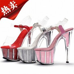 Wholesale Dancing Shoes Gold - women's shoes pole dancing shoes 15cm high heels sandals crystal shoes clear Sparkling Glitter wedding shoes