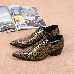 Wholesale Skull Wedges - Men's Italian Style Genuine Leather Poninted toe Dress Shoes New Mens Gold Skull Printed Flat Lace-up Shoes Male Moccasins Euro Size 38-46