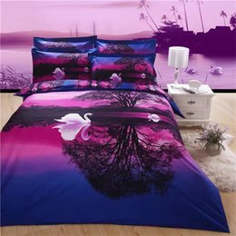 Wholesale Swan Duvet - 2016 New Arrival 5D Oil Painting Beautiful Swan and Trees Printed Queen Size 100% Egyptian Cotton Bedding Set Duvet Cover Set