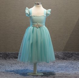 Wholesale Elegant Dresses Sold Wholesale - Hot Sell Children Clothing Girls Sequins Dress Diamond Lace Sleeveless Vest Dress Blue Princess Party Girl's Dresses Elegant Elsa Dress 9452