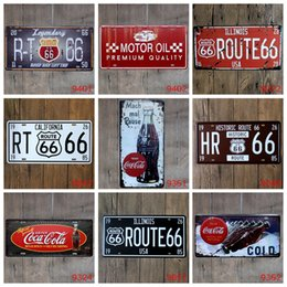 Wholesale Fairies Oil Paintings - Antique License plates retro metal tin signs california motor oil cold wall decoration plaque vintage iron painting art pub bar craft gift