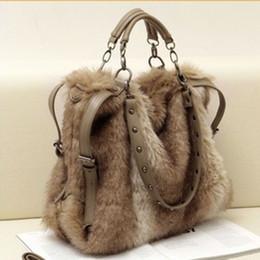 Wholesale stud bag leather - 2016 women's leather handbag fashion faux rabbit fur totes stud bags winter shoulder bag cross-body cool messenger bag rivet purse - TM003