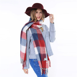 Wholesale Cashmere Ponchos For Women - Za Brand Cashmere Infinity Scarf Plaid Designer Long Blanket Wrap Warm Winter Tassel Neck Scarf Green Red Shawl For Women