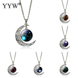 Wholesale Celtic Lion Pendant - Wholesale- 2017 New 12 Twelve Constellations Necklace Leo pendant Blue Moon Stars Lion Symbol Jewelry Moon dome zodiac necklace