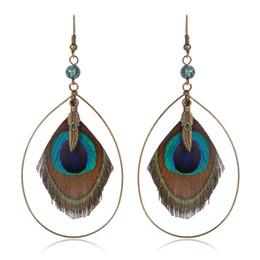 Wholesale Wooden Ethnic Earrings - Feather Women's earrings Ethnic Round Wooden Beads Peacock Feather Long tassel earrings for women Vintage Bohemian earring