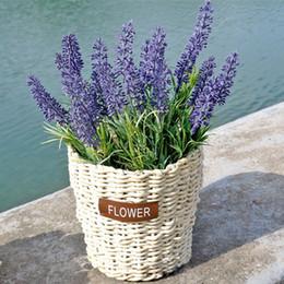 Wholesale Vase Craft Basket - Handmade Corn Bran Weave Vase Basket Storage Organizer Craft for Artificial Flower Wedding Christmas Home Garden Decoration