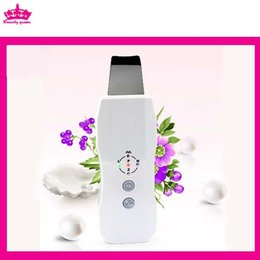 Wholesale Microcurrent Ultrasonic Facial - FREE SHIPPING NEW Portable Ultrasonic Skin Scrubber Facial Peel Device MicroDermabrasion Ultrasound Therpay Skin Rejuvenation Instrument