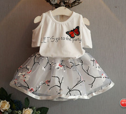 Wholesale Girls Summer Butterfly Shirt - 2016 summer new children's clothing girls butterfly strapless shoulder T-shirt + Plum two layer skirts two-piece suit