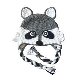 Novedad Crochet Mapache Hat, hecho a mano de punto de ganchillo Baby Boy Girl Animal Earflap Hat, sombrero de invierno de los niños, disfraz de Halloween, foto recién nacido desde fabricantes