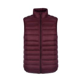 Wholesale Men S Down Vest Jackets - 90% Duck Down Men Vest Winter Waistcoat Ultra Light Thin Sleeveless Jacket Winter Vest Warm Outwear solid vests