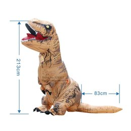 Wholesale Inflatable Halloween - Wholesale-Adult Size T-REX INFLATABLE Dinosaur Costume Fancy Dress Halloween Cosplay Animal Jumpsuit